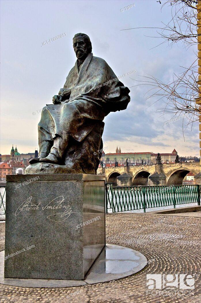 Stock Photo: Czech Republic, Prague, statue of Bedrich Smetana near Vltava river.