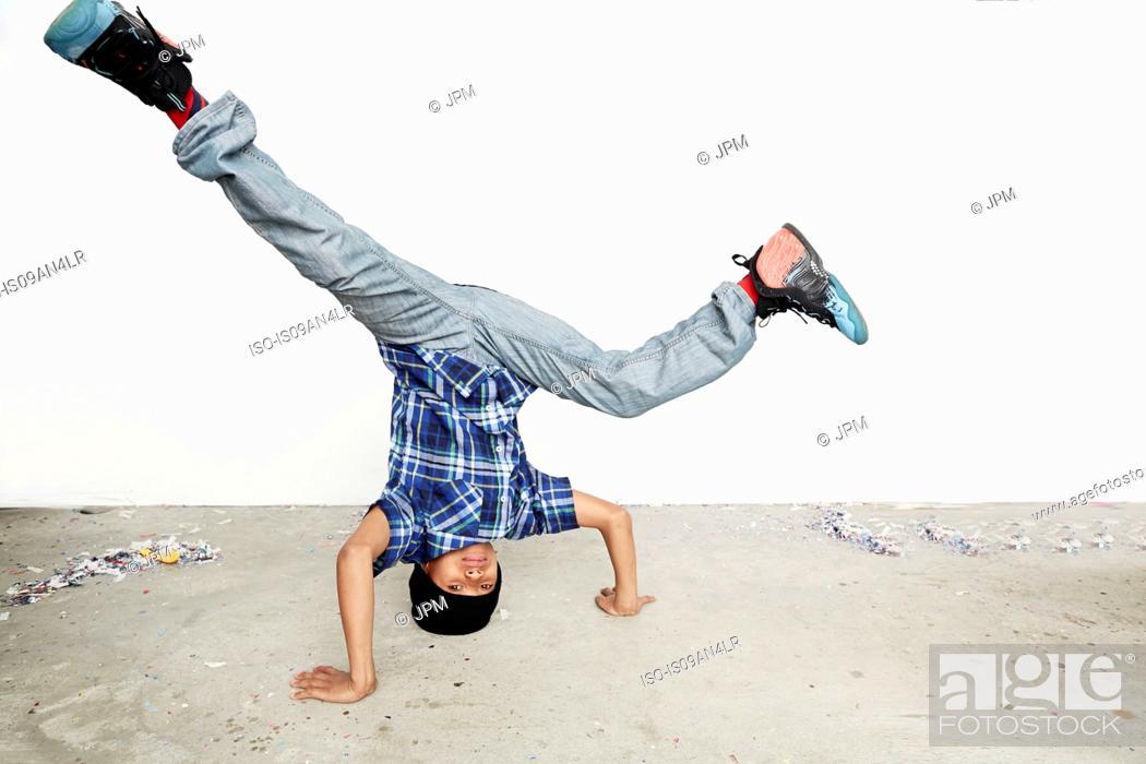 Stock Photo: Boy breakdancing.