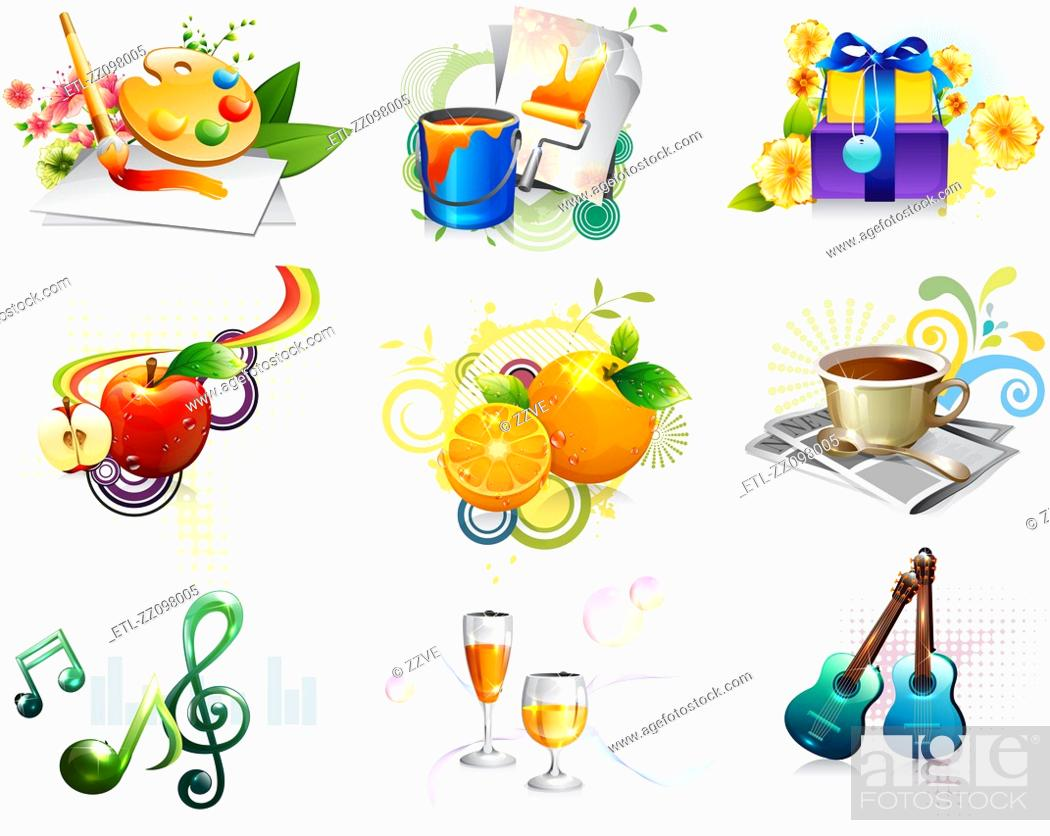 Stock Photo: Leisure activity and refreshment icon set.
