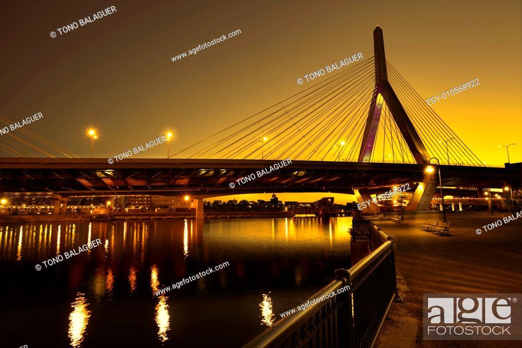 Stock Photo: Boston Zakim bridge sunset in Bunker Hill Massachusetts USA.