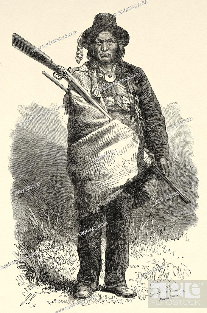 Stock Photo: Portrait of Mottled wolf, Cheyenne tribal chief, United States of America. Journey to the American far west by Simonin 1867.