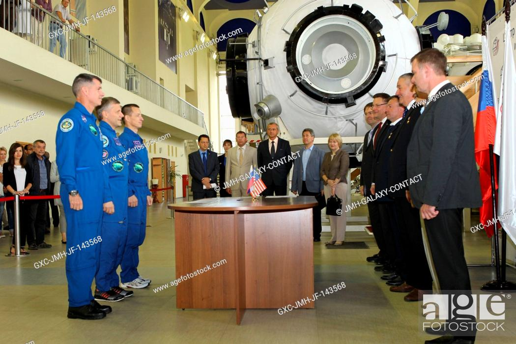 Stock Photo: At the Gagarin Cosmonaut Training Center in Star City, Russia, Expedition 49-50 prime crew members Shane Kimbrough of NASA (left) and Andrey Borisenko (center).