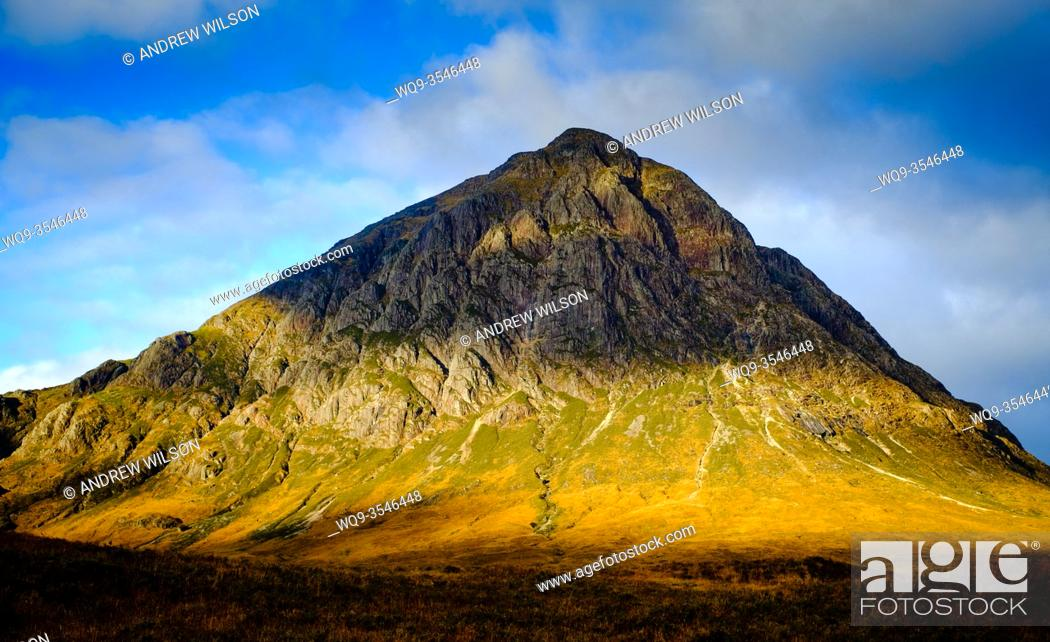 Stock Photo: First light on Buchaille Etive Mor, Glen Etive, Highlands of Scotland.