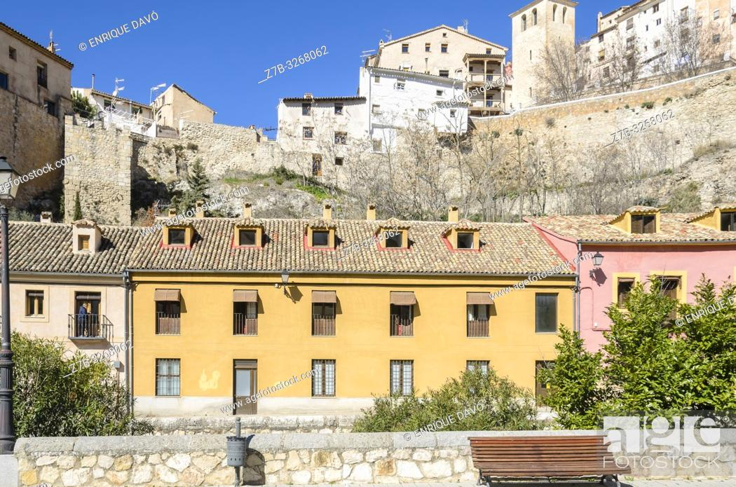Stock Photo: View of a yellow house closed to San Julián park, Cuenca city, Spain.