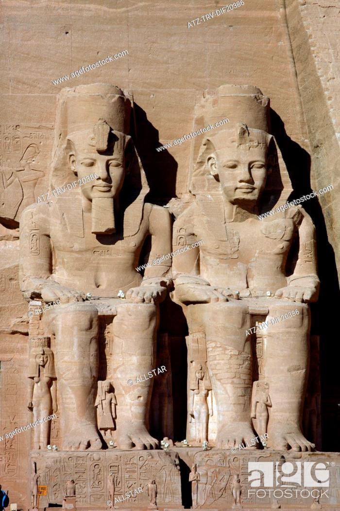 Stock Photo: THE GREAT TEMPLE OF RAMESSES II; ABU SIMBEL, NUBIA, EGYPT; 11/01/2013.