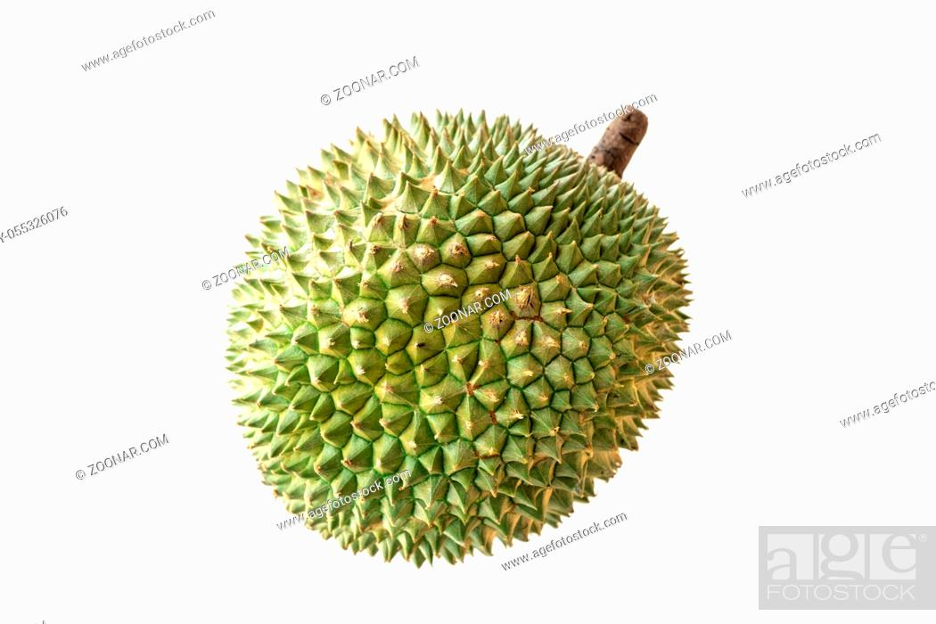 Stock Photo: Malaysia famous king of fruits Blackthorn durian Black thorn isolated on white background.