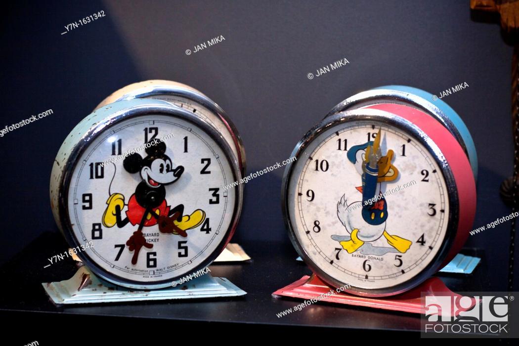 Stock Photo: Old novelty Disney Clock, Bayard Mickey and Bayard Donald, made in france  Claphams National Clock Museum, Whangarei, New Zealand.