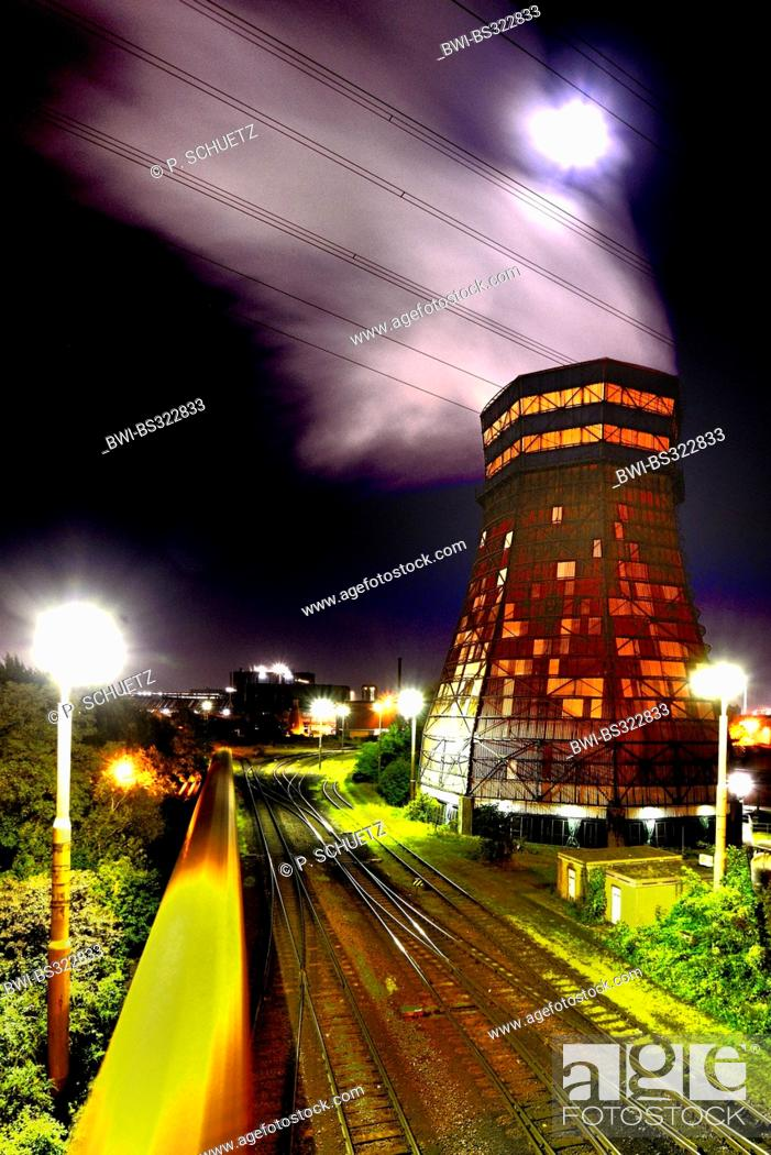 Stock Photo: cooling tower at night, industrial scenery, Germany, North Rhine-Westphalia, Ruhr Area, Duisburg.