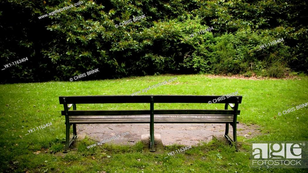 Stock Photo: Empty bench with blocked view in park.