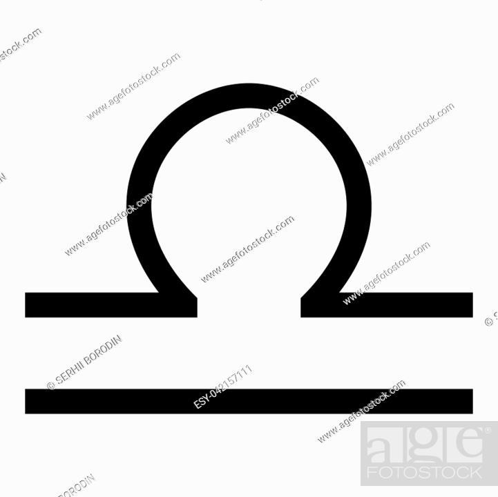 Vector: Libra symbol zodiac icon black color vector illustration flat style simple image.