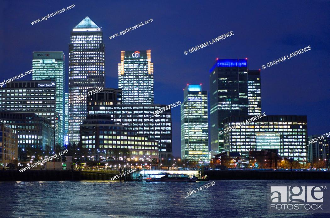 Stock Photo: Canary Wharf, London Docklands, London, UK, Europe.