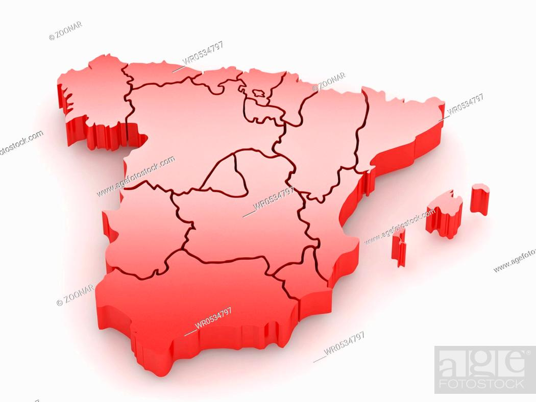 Stock Photo: Three-dimensional map of Spain on white isolated background. 3d.