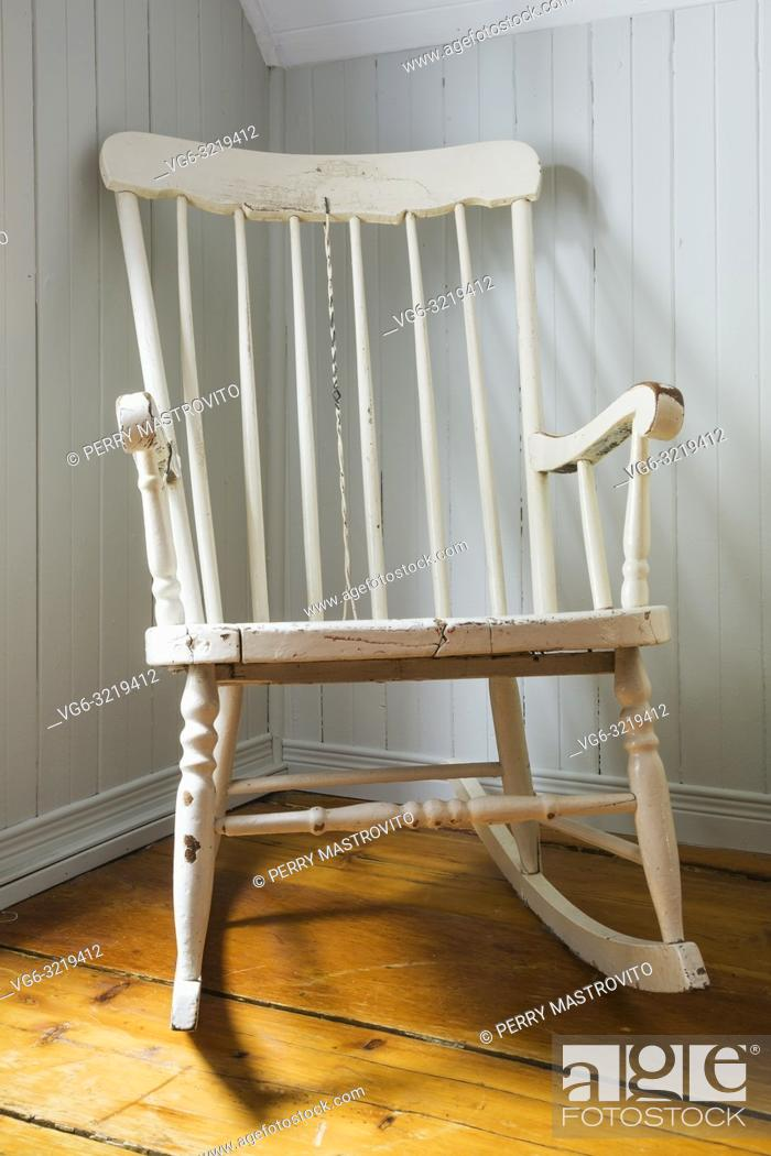 Picture of: Antique White Painted Wooden Rocking Chair In Corner Of Master Bedroom On Upstairs Floor Inside An Stock Photo Picture And Rights Managed Image Pic Vg6 3219412 Agefotostock