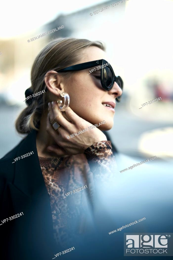 Stock Photo: fashionable woman at street, in Munich, Germany.