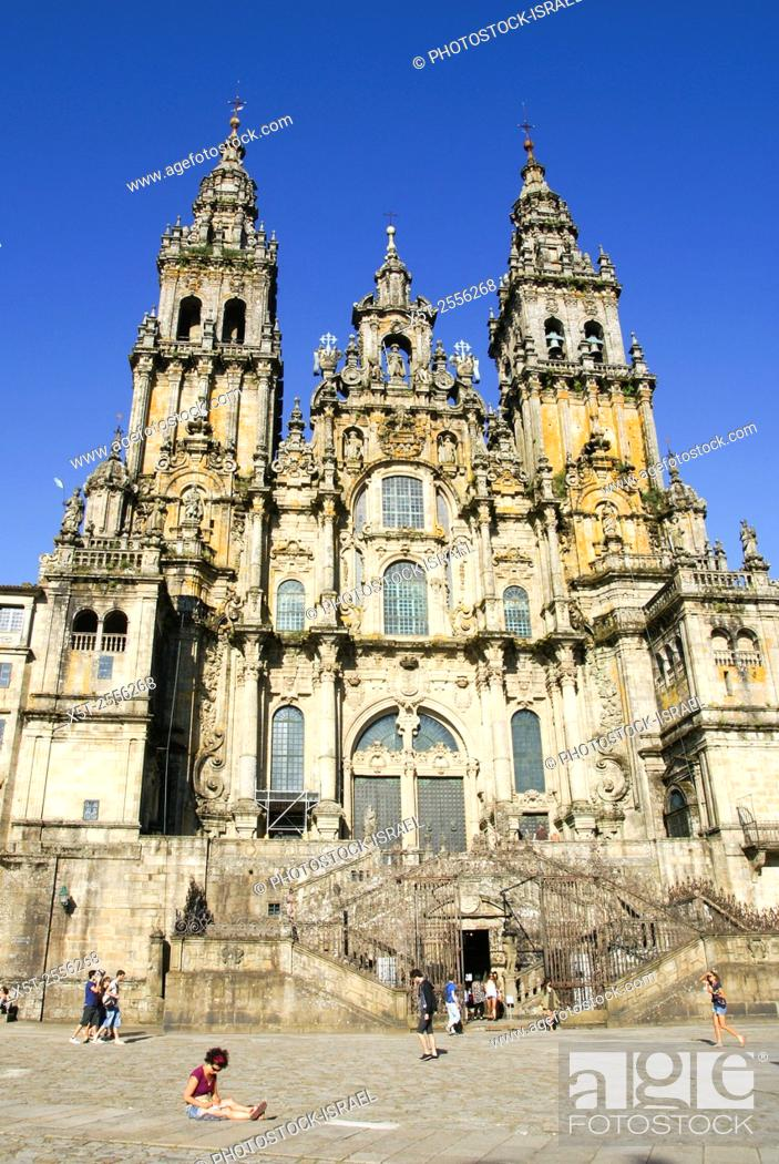 Stock Photo: St James Cathedral Santiago de Compostela, Galicia, Spain.