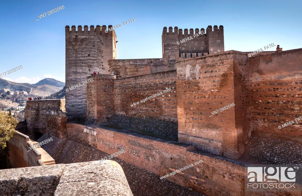 Stock Photo: Exterior of the Alcazaba on the grounds of the Alhambra - Granada, Spain.