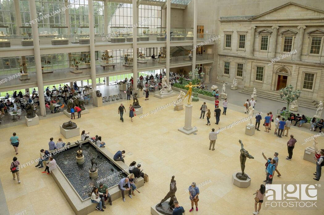 Stock Photo: Courtyard of the American Wing, Metropolitan Museum of Art, Manhattan, New York City, USA, North America.