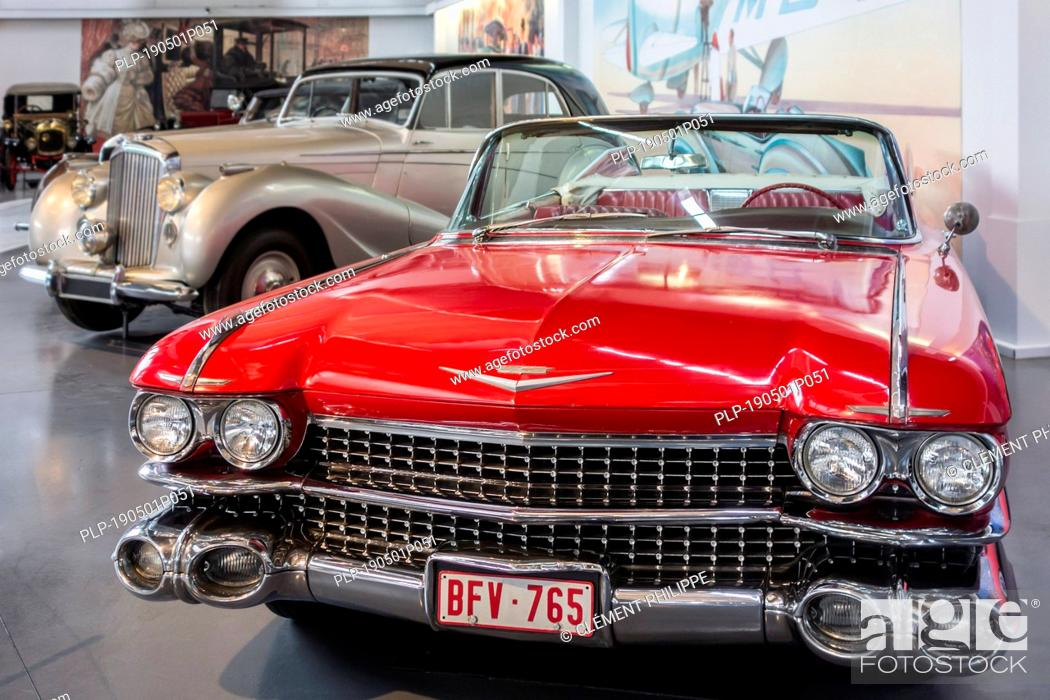 Stock Photo: 1959 Cadillac Series 62 / Series Sixty-Two American convertible classic car at Autoworld, vintage automobile museum in Brussels, Belgium.