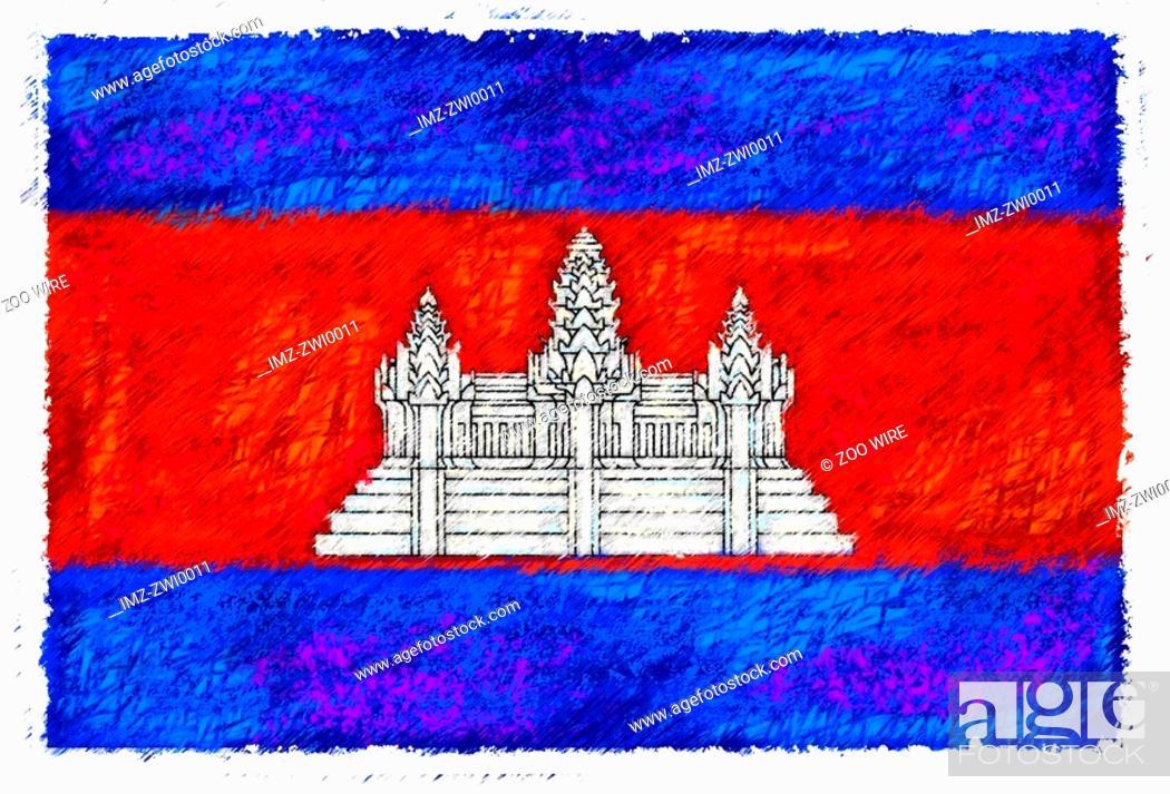 Stock Photo: Flag of Cambodia.
