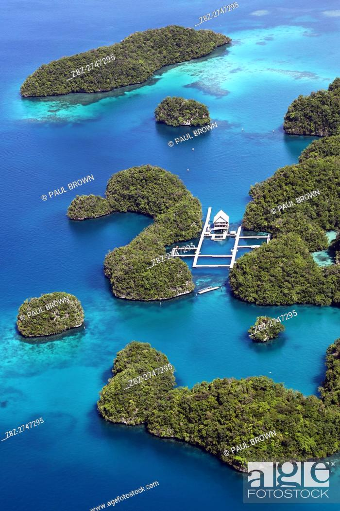 Stock Photo: Aerial view of Koror Airport, Koror Island, Republic of Palau, Micronesia, Pacific Ocean.
