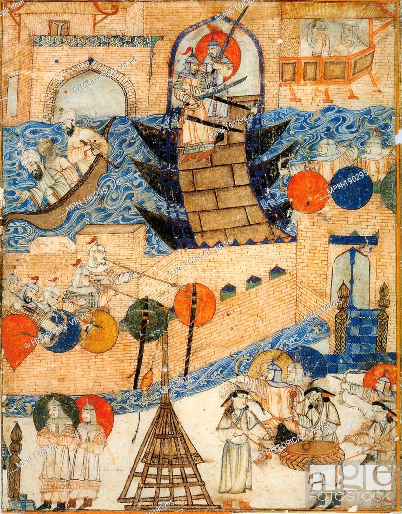 Stock Photo: Conquest of Baghdad by the Mongols 1258. Right part of a double-page illustration of Rashid-ad-Din's Gami' at-tawarih. Tabriz (?), 1st quarter of 14th century.