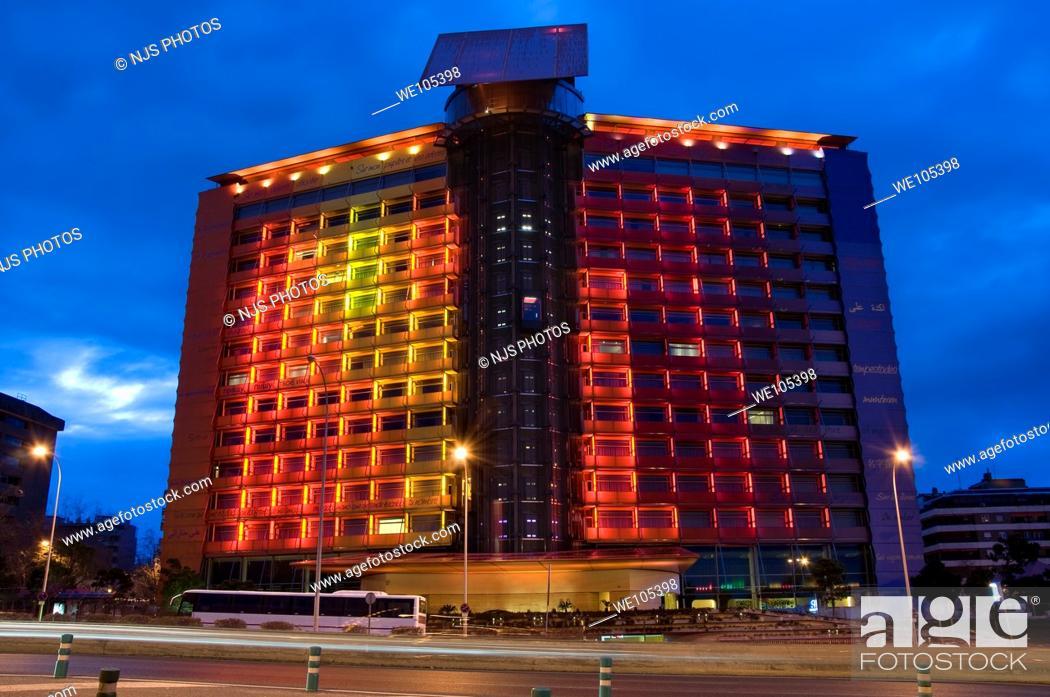 Stock Photo: Facade of Puerta América Hotel, evening view, America Avenue, Comunidad de Madrid, Spain, Europe.