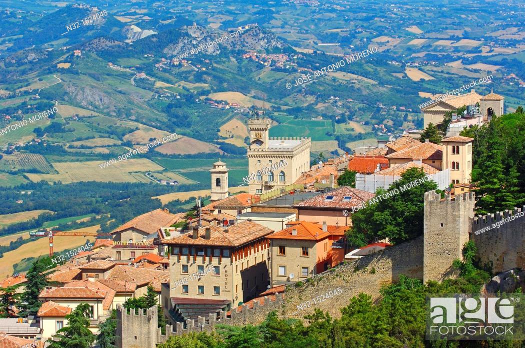 Stock Photo: San Marino  Palazzo Pubblico  Monte Titano  Republic of San Marino  Italy  Europe.