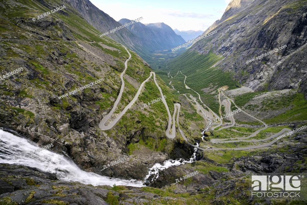 Stock Photo: Norway, More og Romsdal, Trollstigen road is part of the Norwegian Scenic Route, road with 11 hairpin turns.