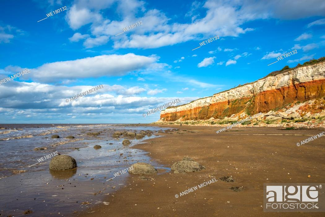 Stock Photo: Hunstanton Cliffs near Old Hunstantion on Norfolk coast, where white chalk overlays red limestone in a colourful formation. Known as the Candy Cliffs.