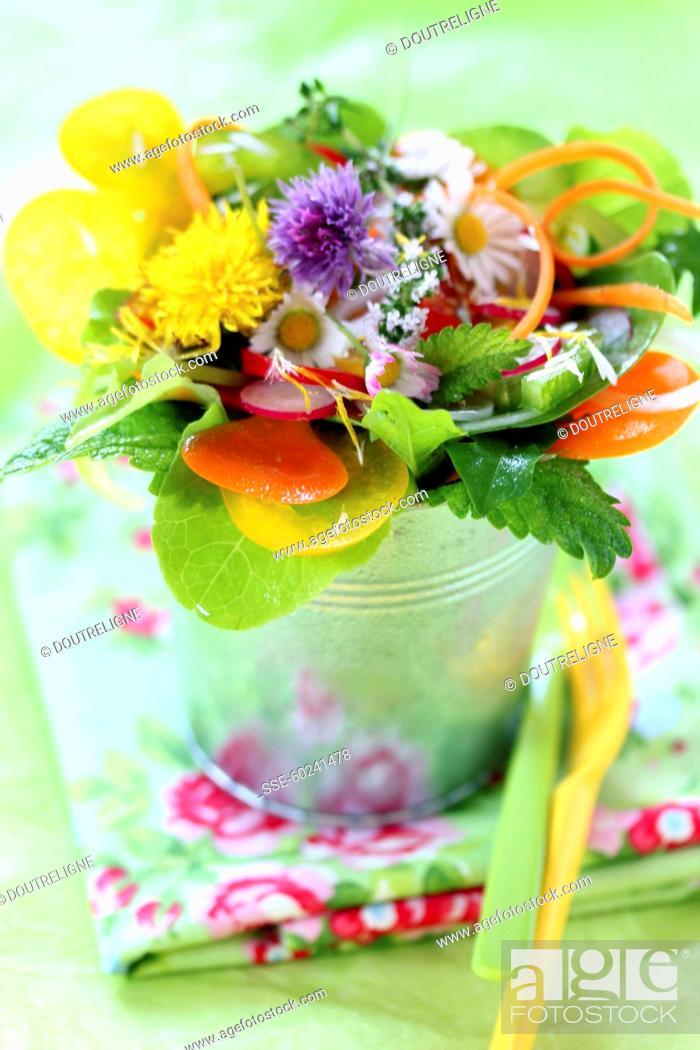 Photo de stock: Fleur, Plat, Préparé, Salade, Hors-D'œuvre, Bouquet