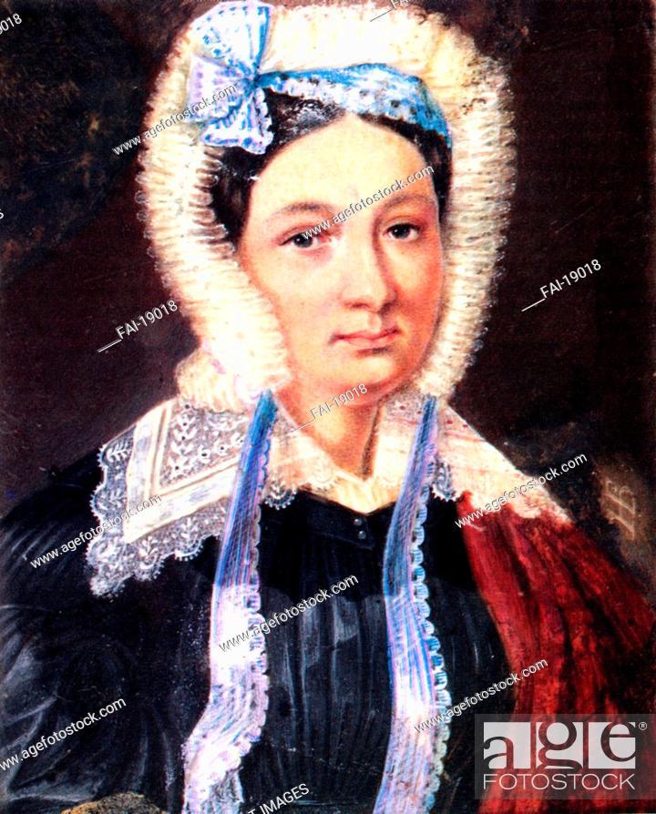 Stock Photo: Portrait of Maria Kazimirovna Yushnevskaya (1790-1863), wife of Decembrist Alexander Yushnevsky. Bestuzhev, Nikolai Alexandrovich (1791-1855).