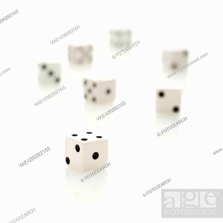 Stock Photo: Group of white dice.