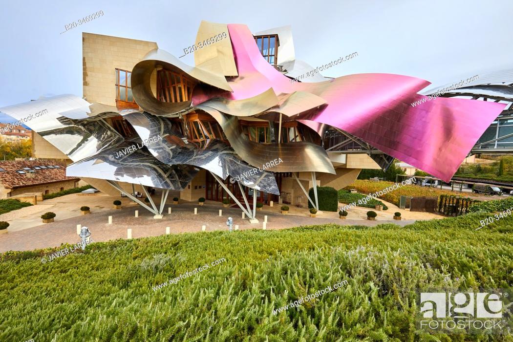 Stock Photo: The City of Wine, Marques de Riscal winery, building by Frank O. Gehry, Elciego, Alava, Rioja Alavesa, Basque Country, Spain, Europe.