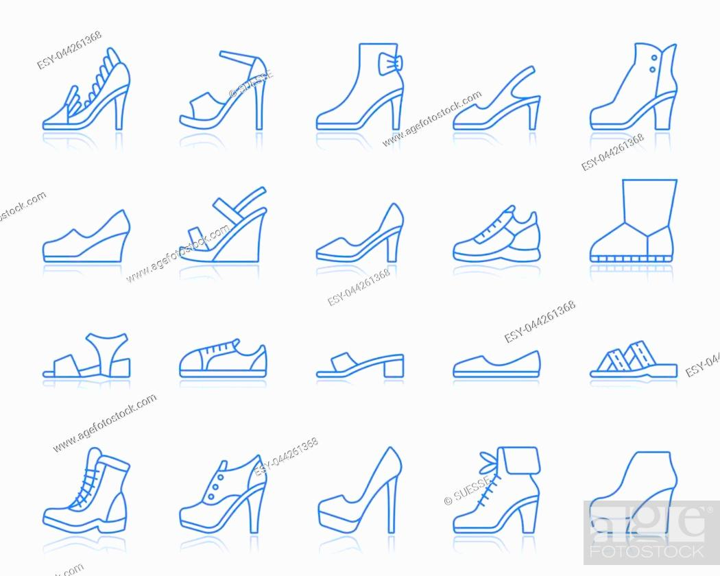Stock Vector: Shoes thin line icons set. Outline vector monochrome web sign kit of footwear. Fashion linear icon collection includes classic, sport, heel.
