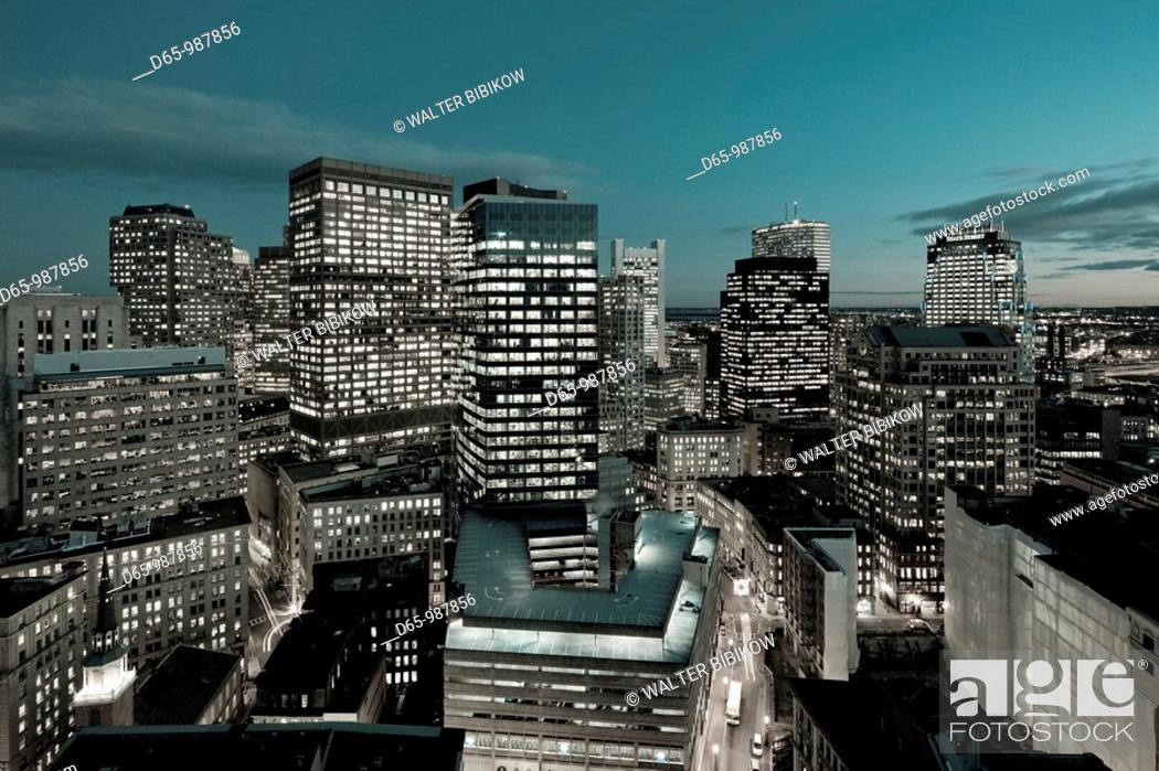 Stock Photo: USA, Massachusetts, Boston, Financial District Buildings, high angle view, evening.