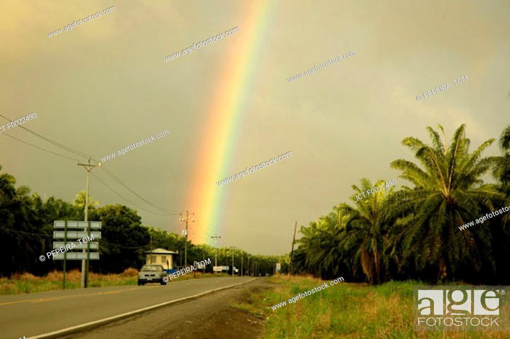Stock Photo: Costa Rica, road, rainbow.
