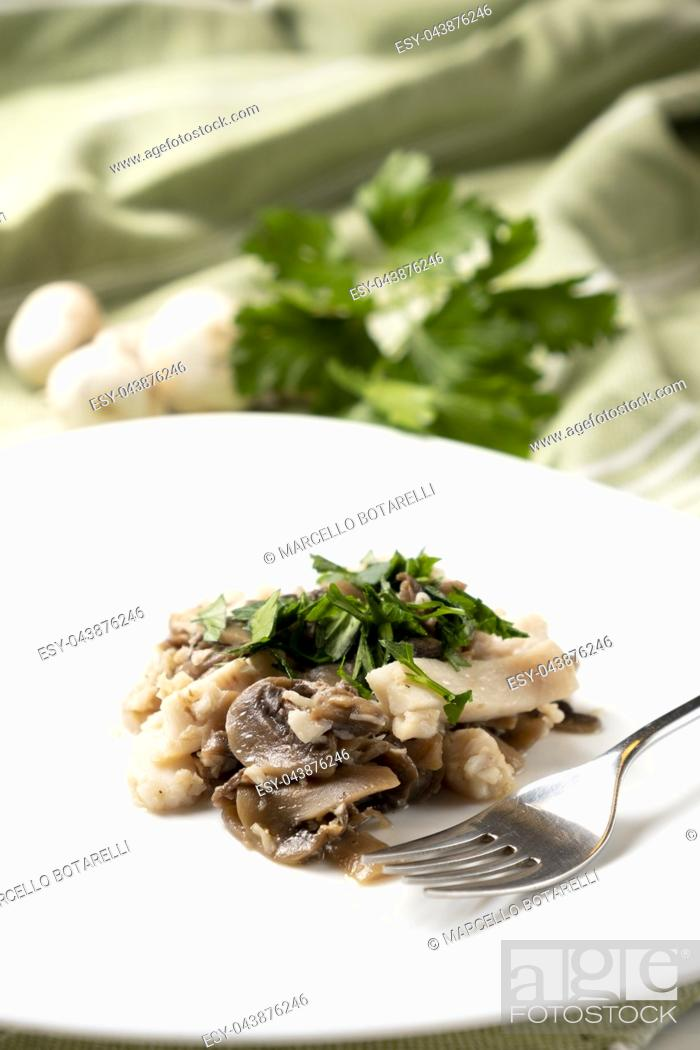 Stock Photo: fillet of perch with champignon mushrooms and parsley on white plate.