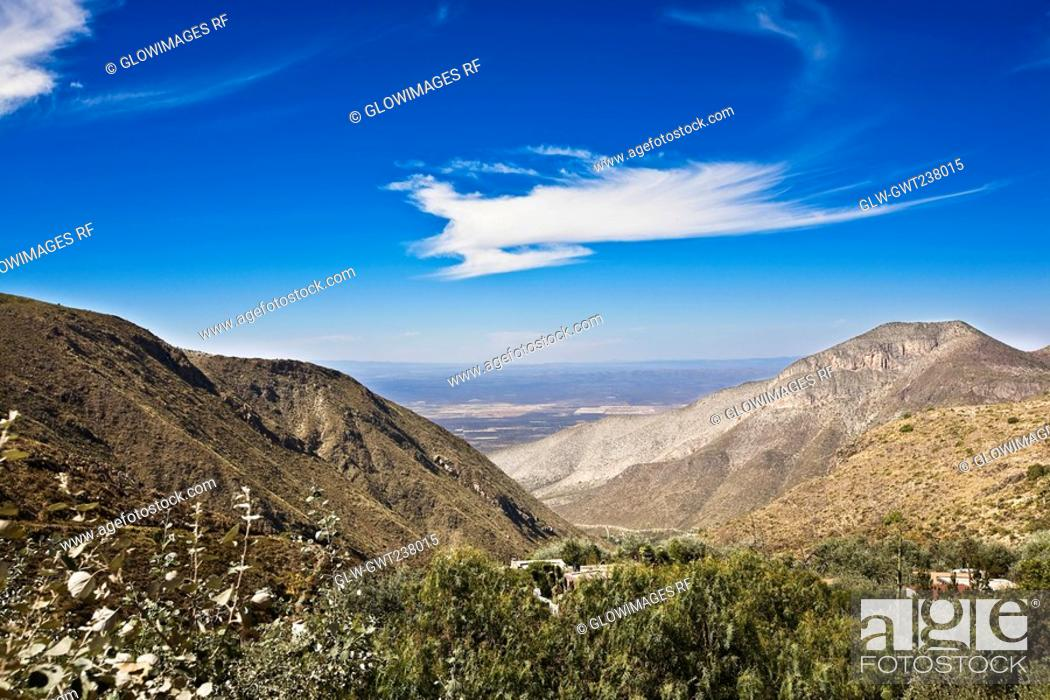 Stock Photo: High angle view of mountains, Real De Catorce, San Luis Potosi, Mexico.