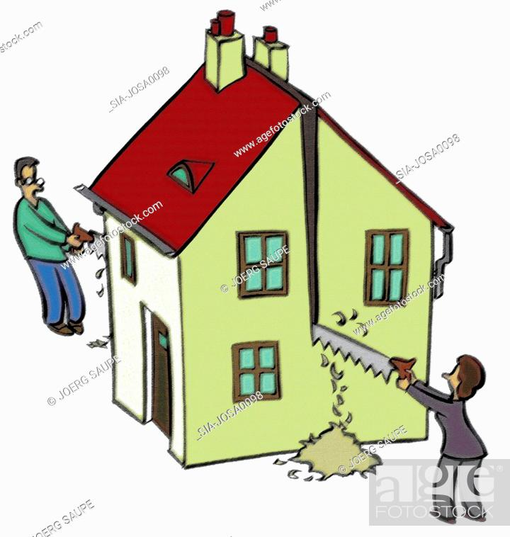 Imagen: Man and woman sawing house.