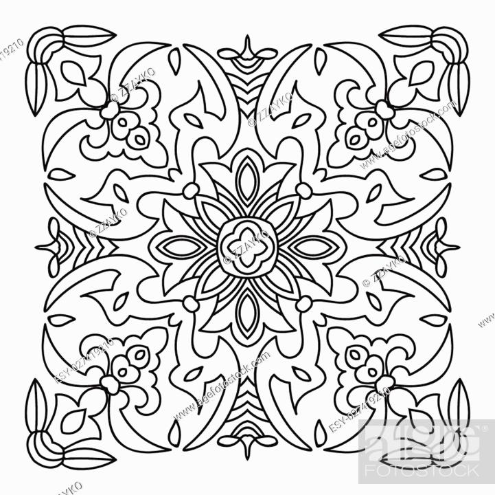 Stock Vector: Hand drawing zentangle element. Italian majolica style Black and white. Flower mandala. Vector illustration. The best for your design, textiles, posters.