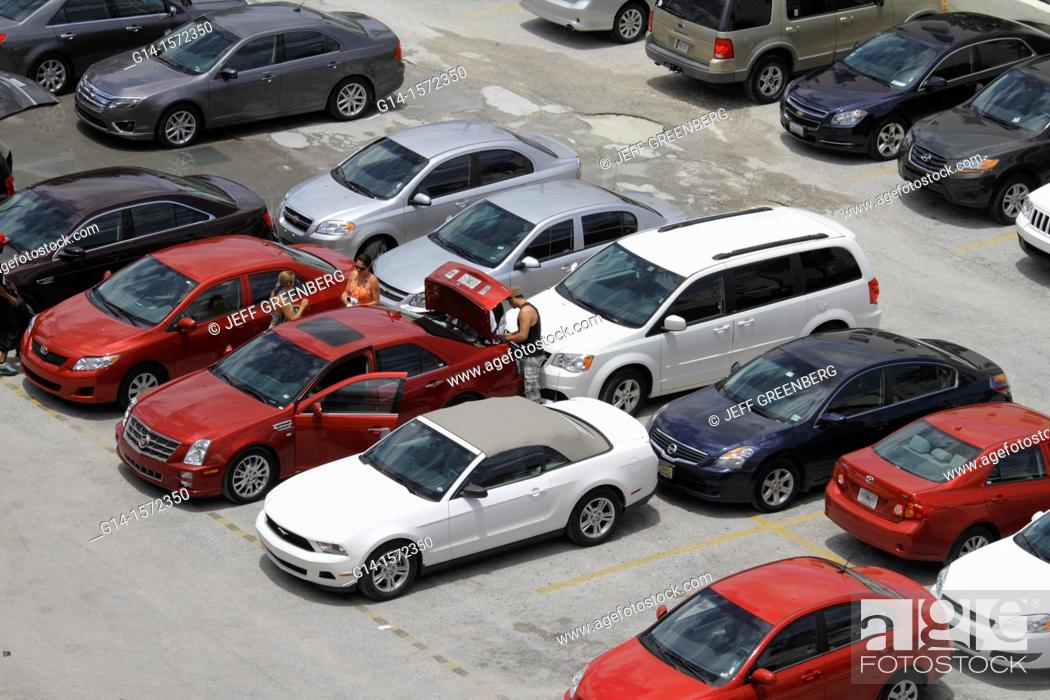 Stock Photo: Florida, Miami Beach, 'Ocean Drive', parking lot, vehicles, cars, organized, aerial view, overhead, pothole,.