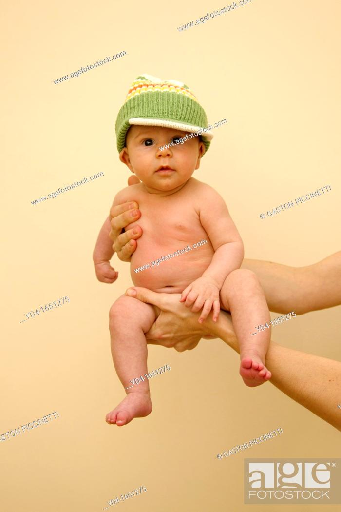 Stock Photo: Portrait of a two month old baby boy.