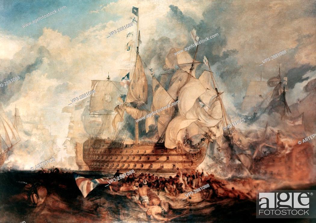 Stock Photo: William Turner . The Battle of Trafalgar. 1805. National Gallery London.