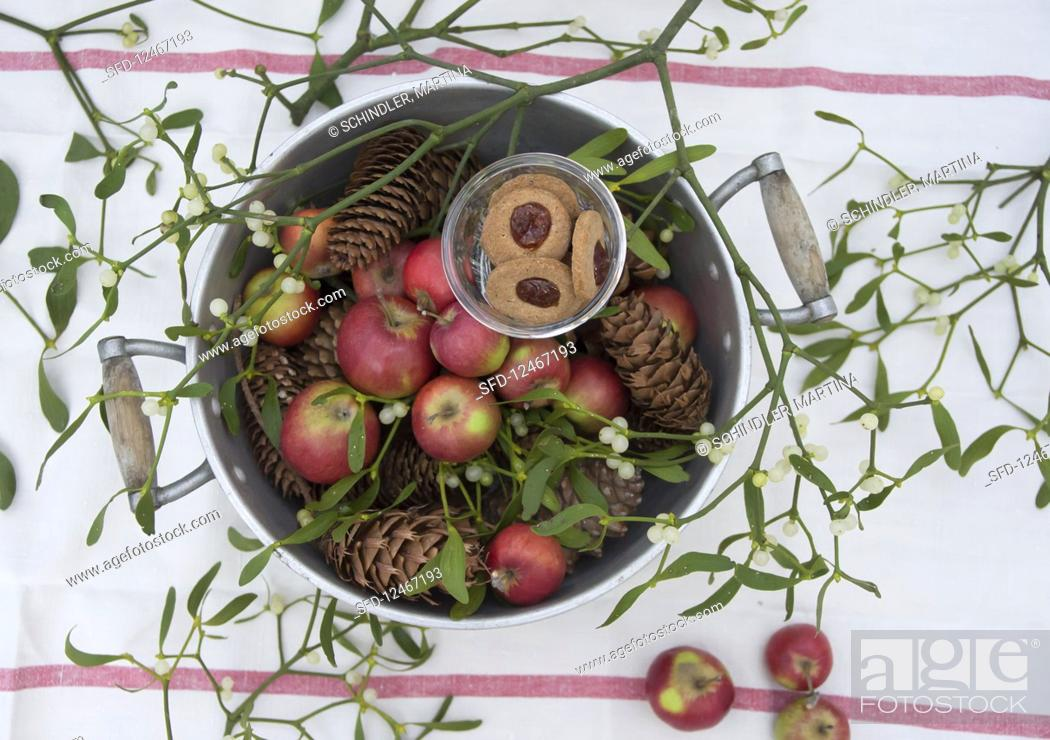 Stock Photo: An old pot filled with Christmas apples, mistletoe, pine cones and jam biscuits.