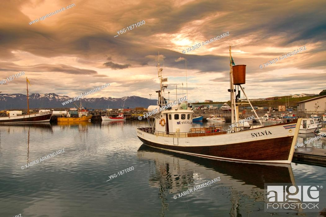 Stock Photo: Old fishing port of Húsavik Centre of whale watching  Iceland, Europe.