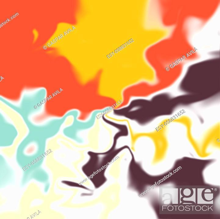 Stock Vector: Liquid shapes digital art in bright colors.