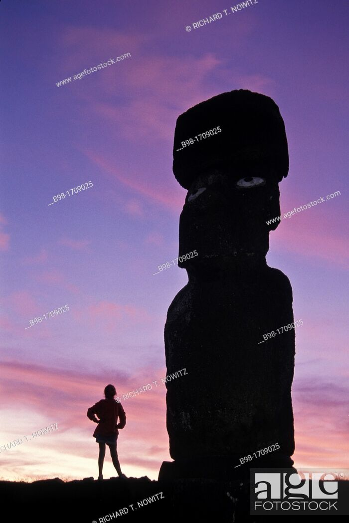 Stock Photo: These 'moais, ' carved monoliths of ancestral gods, are believed to date from the 13th or 14th century  Easter island lies 2.