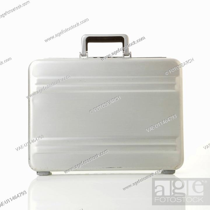 Stock Photo: Silver metal briefcase.