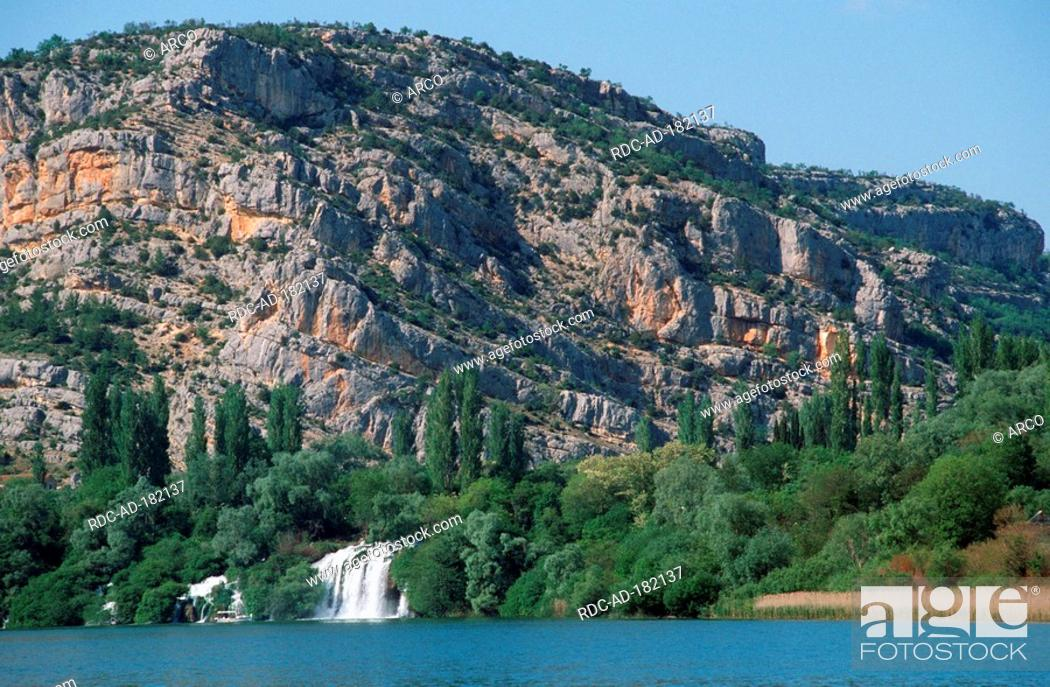 Stock Photo: Roski waterfall, Krka waterfall, national park Krka, Dalmatia, Croatia, Roski slap.