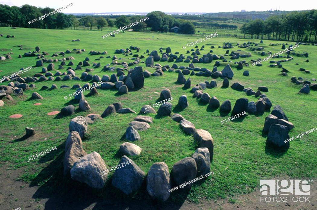 Stock Photo: Denmark, -lborg, Lindholm Hoje Viking cemetery.